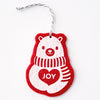 Ornament - Hand Screen Printed Wool Felt Polar Bear JOY Red