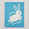 Greeting Card Hand Screen Printed Bunny Happy Birthday
