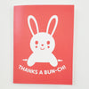 Greeting Card Hand Screen Printed Bunny Thanks