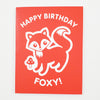 Greeting Card Hand Screen Printed Fox Birthday