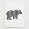 Greeting Card Hand Screen Printed Grizzly Bear