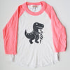 Hand Screen Printed Dinosaur T-Rex Kids 3/4 Pink Long Sleeve Raglan T-Shirt