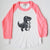 Hand Screen Printed Dinosaur T-Rex Kids 3/4 Pink Long Sleeve Baseball  T-Shirt