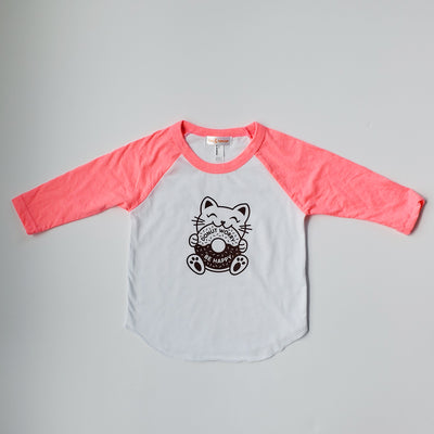 Hand Screen Printed Kitty Donut Babies and Kids 3/4 Long Sleeve Baseball T-Shirt