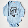 Hand Screen Printed Love Montana Long Sleeve Blue Onesie
