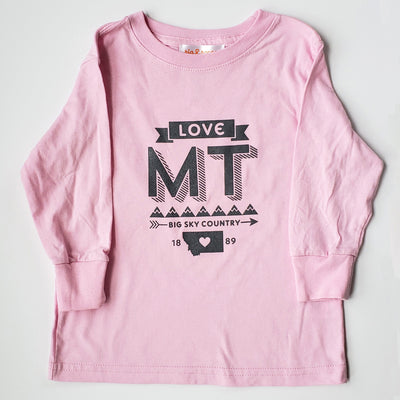Hand Screen Printed Love Montana Long Sleeve Pink Youth Shirt