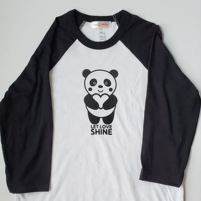 Hand Screen Printed Panda Let Love Shine Adult/Unisex 3/4 Long Sleeve Baseball T-Shirt