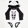 Hand Screen Printed Panda Long Sleeve Onesie with Ears Sewn on Hoodie