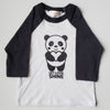 Hand Screen Printed Panda Let Love Shine Kids 3/4 Long Sleeve Baseball T-Shirt