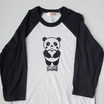 Hand Screen Printed Panda Let Love Shine Youth 3/4 Long Sleeve Baseball T-Shirt