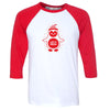 Hand Screen Printed Penguin LET IT SNOW Unisex Adult 3/4 Red Long Sleeve Raglan T-Shirt