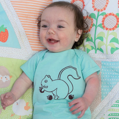 Hand Screen Printed Squirrel Nuts Baby Onesie