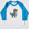 Hand Screen Printed Dinosaur T-Rex Kids 3/4 Blue Long Sleeve Raglan T-Shirt