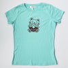 Hand Screen Printed Kitty Donut Worry Be Happy Light Aqua Blue Womens T-Shirt