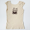 Hand Screen Printed Kitty Donut Worry Be Happy Cream Womens T-Shirt