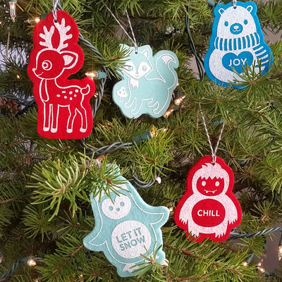 Ornament - Hand Screen Printed Wool Felt Yeti CHILL Cyan