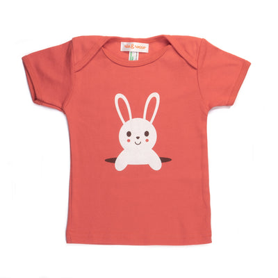 Hand Screen Printed Bunny Popping Out Kids 18-24 Months Organic T-Shirt