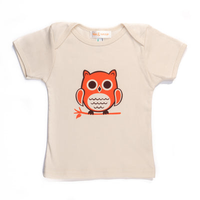 Hand Screen Printed Owl Sitting Cream Kids 18-24 Months Organic T-Shirt