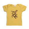 Hand Screen Printed Monkey Swinging Mustard Kids 18-24 Months Organic T-Shirt