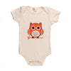 Hand Screen Printed Owl Sitting Cream Baby Organic Onesie