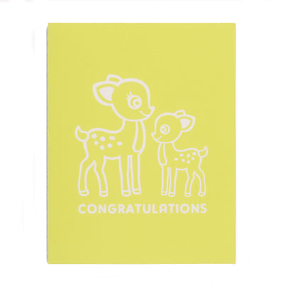 Greeting Card Hand Screen Printed Congratulations Baby Deer