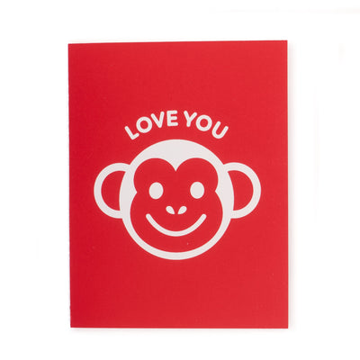 Greeting Card Hand Screen Printed Love You Monkey
