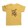 Hand Screen Printed Monkey Swinging Mustard Kids Organic T-Shirt