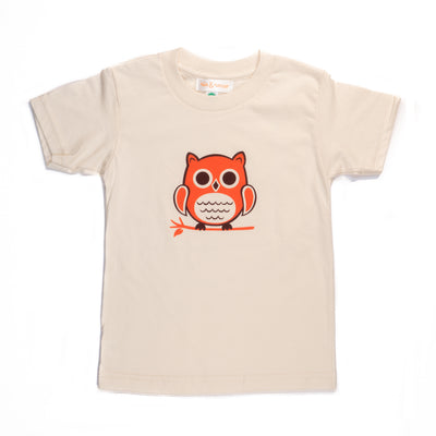 Hand Screen Printed Owl Sitting Cream Kids Organic T-Shirt