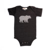 Hand Screen Printed Grizzly Bear with Pattern Dark Gray Heather Baby Onesie