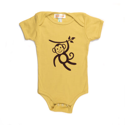 Hand Screen Printed Monkey Swinging Mustard Baby Organic Onesie