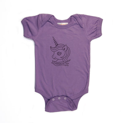 Hand Screen Printed Unicorn Magical Baby Onesie