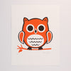 Hand Screen Printed Owl Sitting Limited Edition Print on Archival Fine Art White Paper
