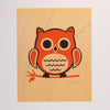 Hand Screen Printed Owl Sitting Limited Edition Print on Wood Veneer