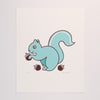 Hand Screen Printed Squirrel with Acorns Limited Edition Print on Archival Fine Art White Paper