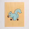 Hand Screen Printed Squirrel with Acorns Limited Edition Print on Wood Veneer