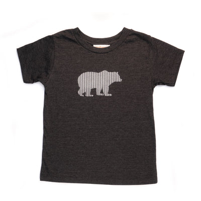 Hand Screen Printed Grizzly Bear with Pattern Dark Gray Heather Kids T-Shirt