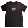 Hand Screen Printed Grizzly Bear with Pattern Dark Gray Heather Unisex/Mens T-Shirt