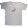 Hand Screen Printed Elk with Pattern Light Gray Unisex/Mens T-Shirt