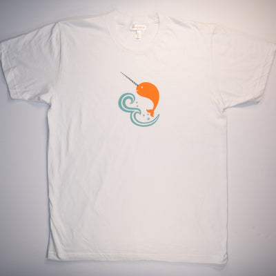 Hand Screen Printed Narwhal in Ocean Unisex/Mens T-Shirt