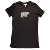 Hand Screen Printed Grizzly Bear with Pattern Dark Gray Heather Womens T-Shirt