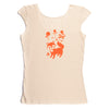 Hand Screen Printed Friendly Foxes Cream Womens T-Shirt