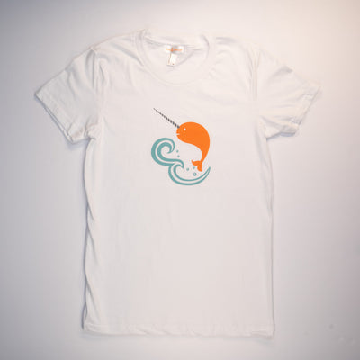 Hand Screen Printed Narwhal in Ocean Womens T-Shirt