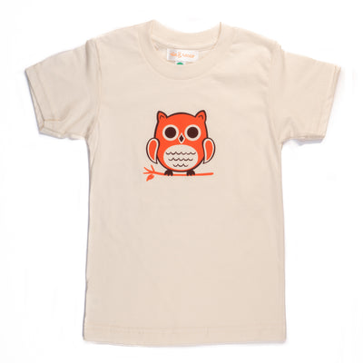 Hand Screen Printed Owl Sitting Cream Womens Organic T-Shirt