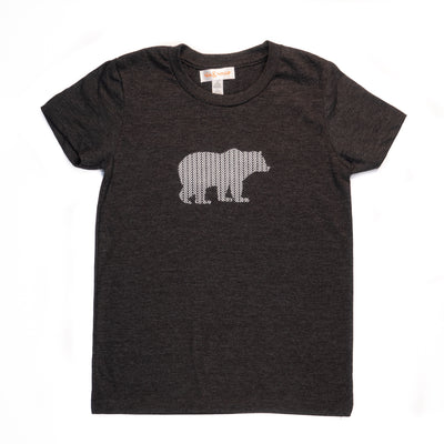 Hand Screen Printed Grizzly Bear with Pattern Dark Gray Heather Youth T-Shirt