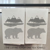 Hand Screen Printed Tea Towel: Grizzly Graphic