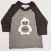 Hand Screen Printed Chill Yeti Kids Heather Dark Gray Long Sleeve Raglan T-Shirt