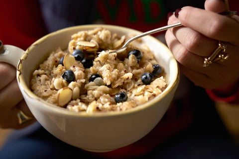 bowl of Irish oatmeal with berries and nuts
