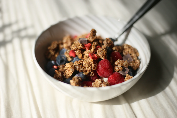 bowl of granola for breakfast on the go