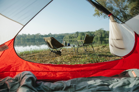 View of lake from inside a tent