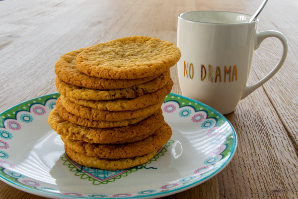 Stack of gluten-free oatmeal cookies on a kitchen table